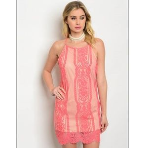 Farrah peach Lace overlay Dress